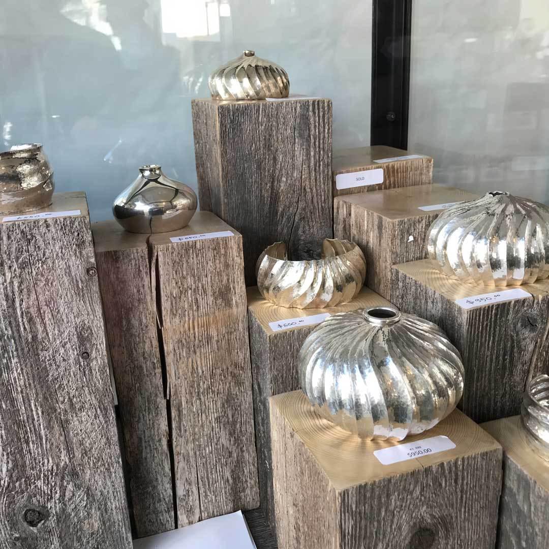 Raised vessels by Bill Fretz, on display during the Pueblo Gem & Mineral Show.