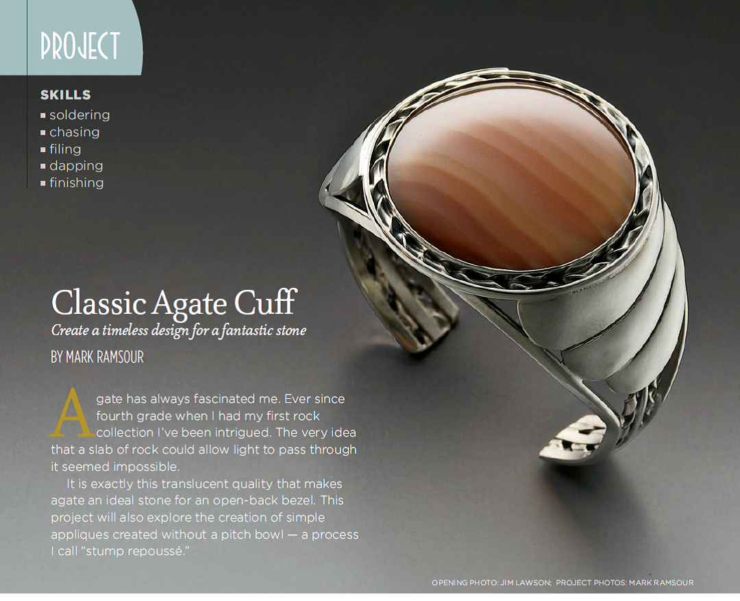 Mark Ramsour solders a ledge of 16ga square wire with hard solder inside the bezel of his Classic Agate Cuff, January 2010 Lapidary Journal Jewelry Artist; photo: Jim Lawson