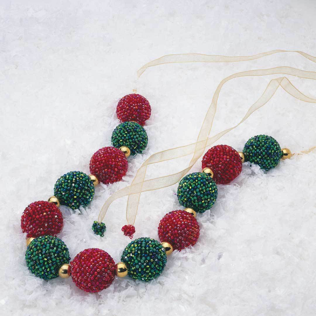 holiday beaded jewelry Christmas Ornament Necklace and Earrings by Judi Wood