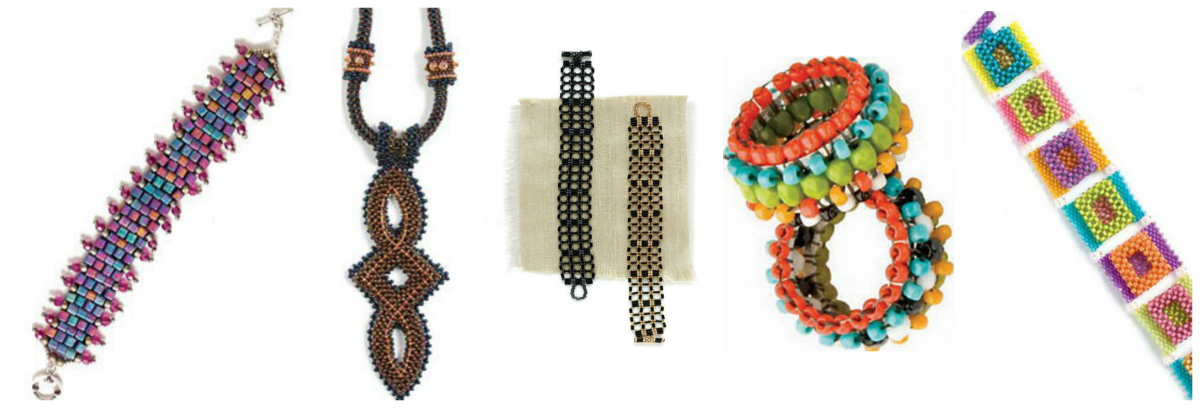 Find right-angle weave beading patterns for these fun projects and more in the Interweave store! From left to right: Righteous Right-Angle Weave Bracelet, Ellipse Necklace, Cane-Back Bracelet, Hoopla!, and Calypso Squares Bracelet.