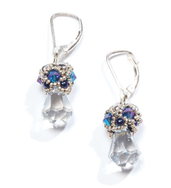 Bead Royale eBook by Cristie Prince. Reign Drops Earrings. bead weaving with seed beads and crystals