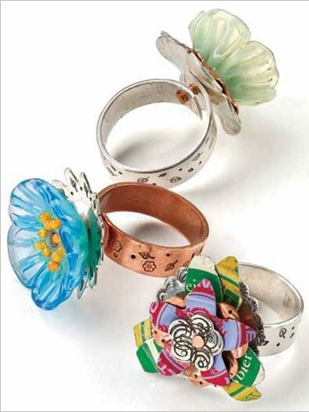 Riveted Flower Rings by Kate Richbourg