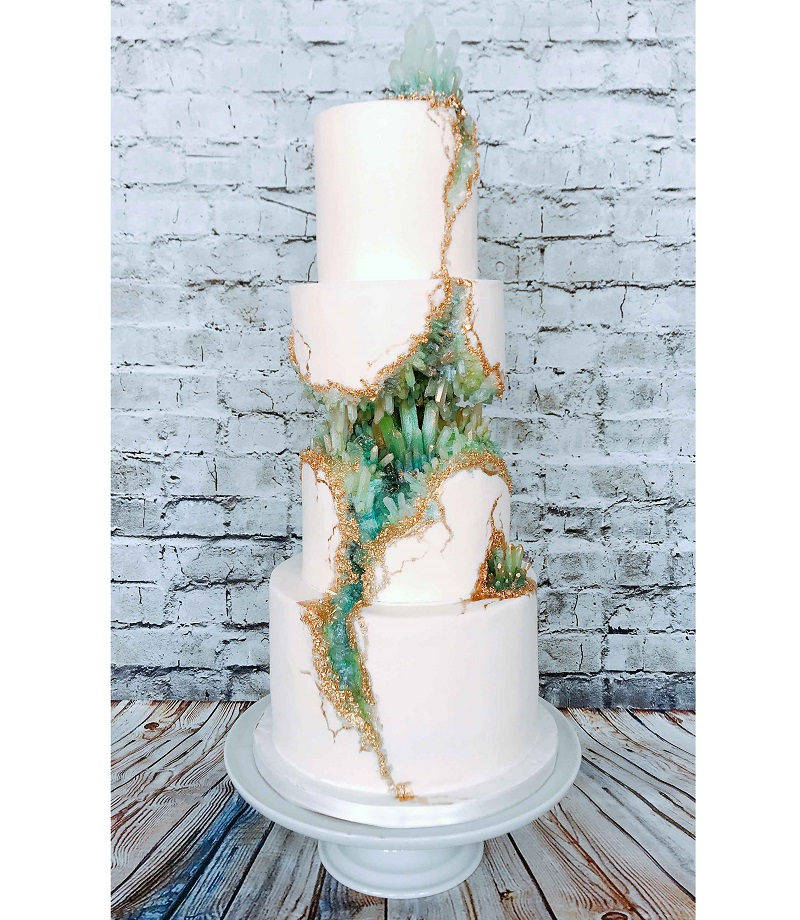 rock crystal wedding cake: The Home Bakery in Rochester, Michigan