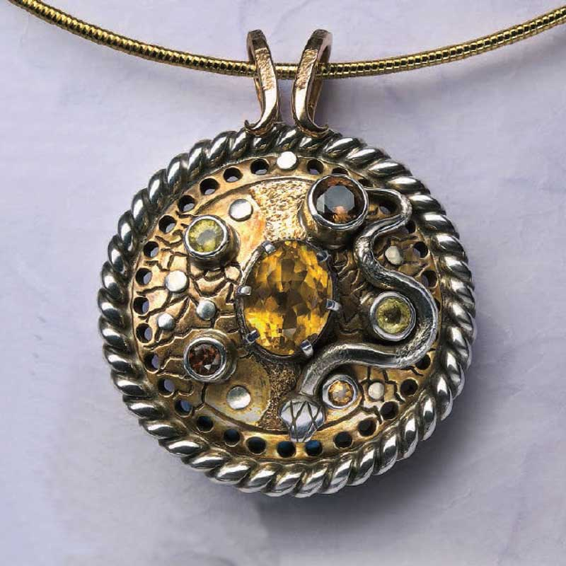 Bronze Fantasy Medallion with Silver Accents and gemstones, by Roger Halas.