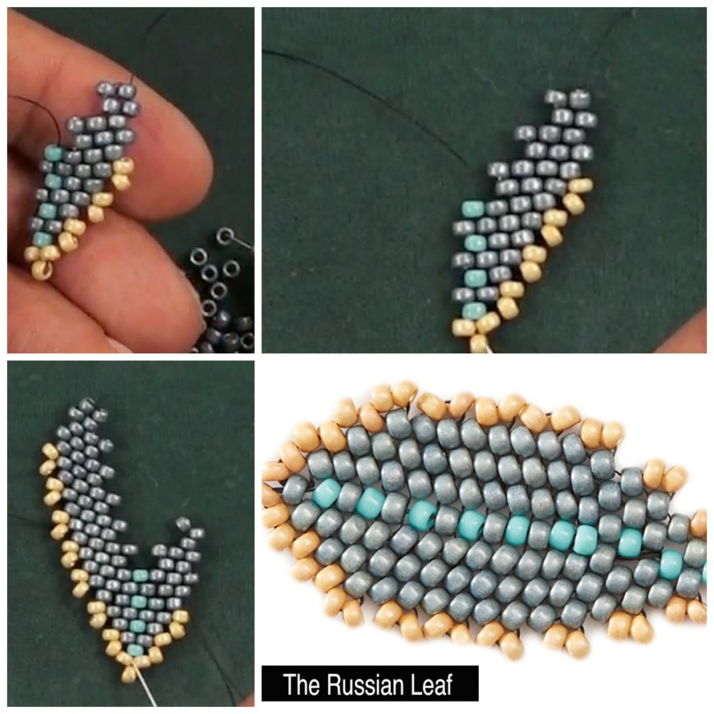 Huib Petersen, diagonal peyote stitch, russian leaf stitch, seed beading, bead weaving