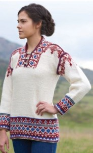 This Sami-inspired Tunic is absolutely breathtaking. Learn how to #knit your own with the help of Folk #Knitting!