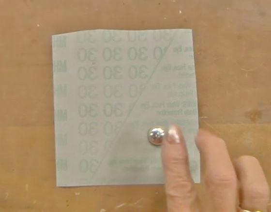 tape finishing film to table for easy sanding