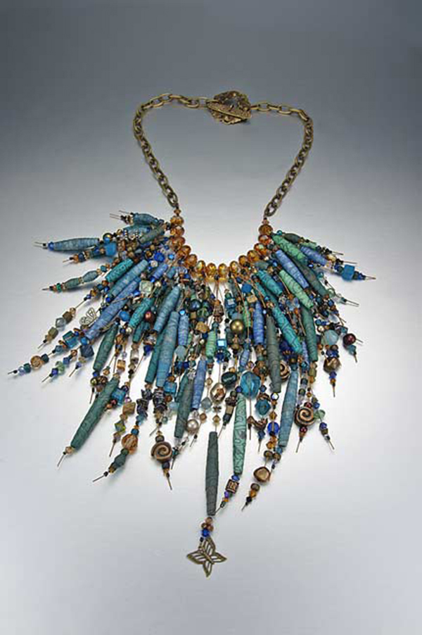 Sassy Silkies, swarovski crystals pendant, by Kristal Wick. Fabulous Fabric Beads eBook.