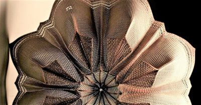Spring Lotus basket by Dennis Nahabetian made from fly screen mesh