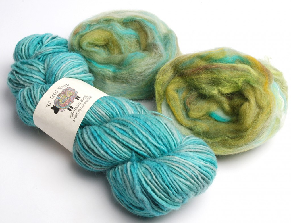 "recent purchase of yarn and wool roving hand dyed by the owner and spinner at ""Ten Good Sheep"" on the Eastern Shore of VA."