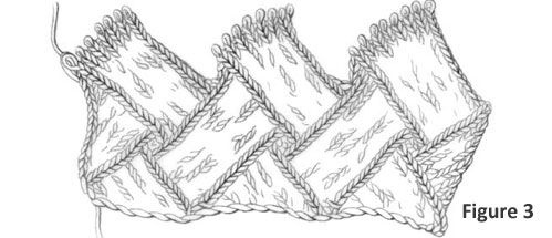 Learn how to start knitting entrelac blocks in this figure-by-figure knitting tutorial by Eunny Jang. This is figure 3, second tier of the blocks.