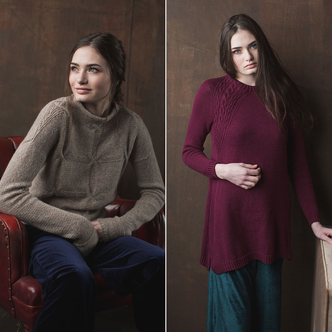 Challenge yourself with the fun Shifting Squares Pullover and fine-gauge Purple Beet Raglan.