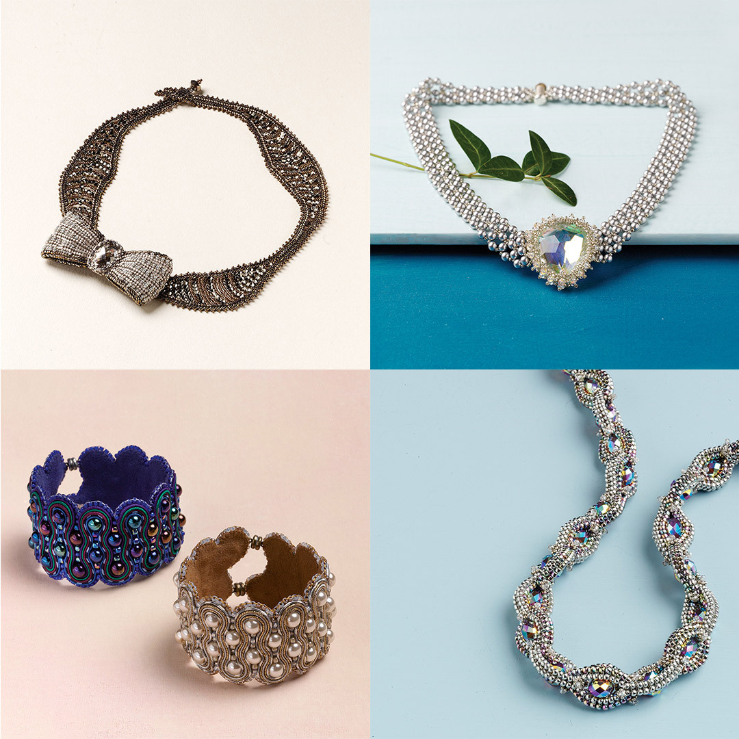 Clockwise from top-left: Silver Tie Affair Necklace, Summer Soiree Necklace, Swingin' Soutache Bracelet, Chain of Jewels Necklace.