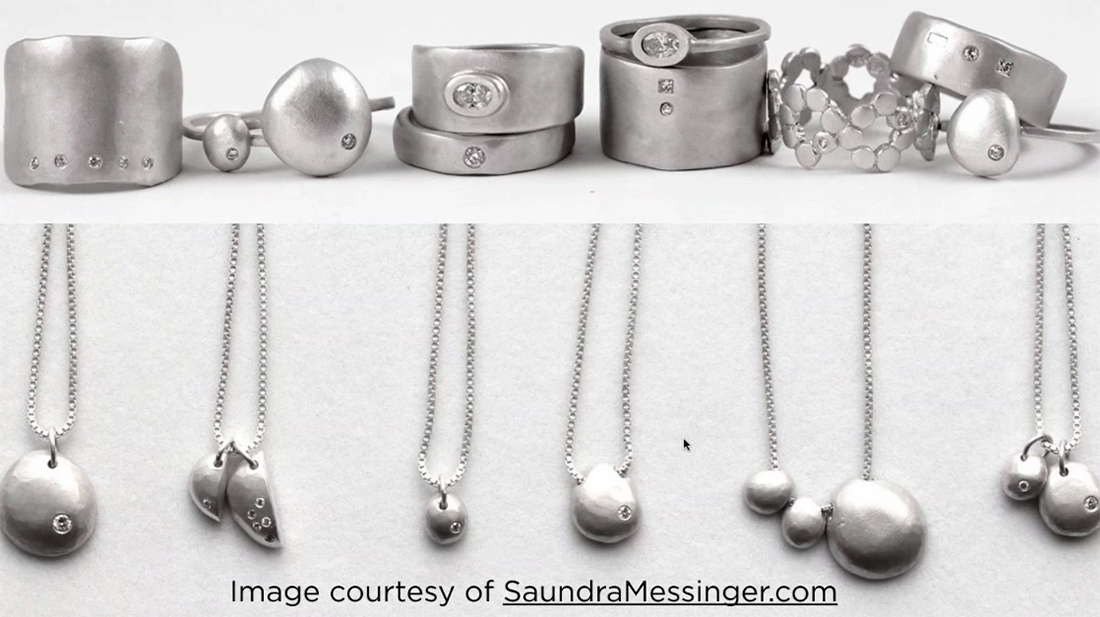 Saundra Messinger, a collection of silver jewelry