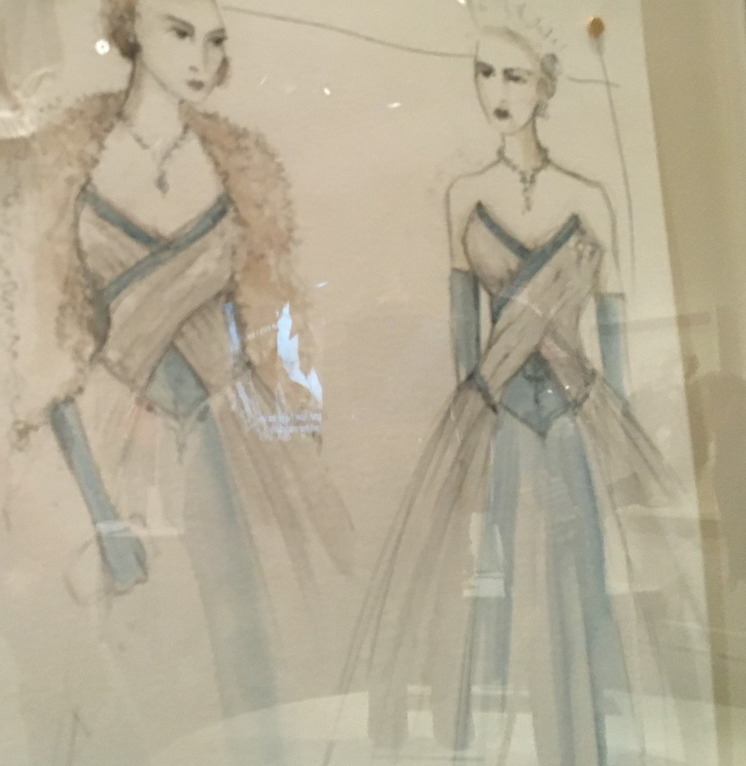 Sketches of some costumes are also included in the exhibit; photo: M. White