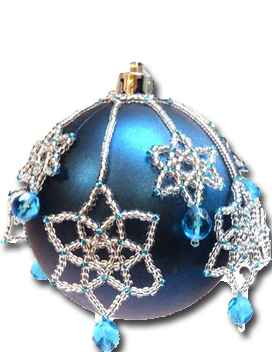 Snowflake ornament made with jewelry making skills.