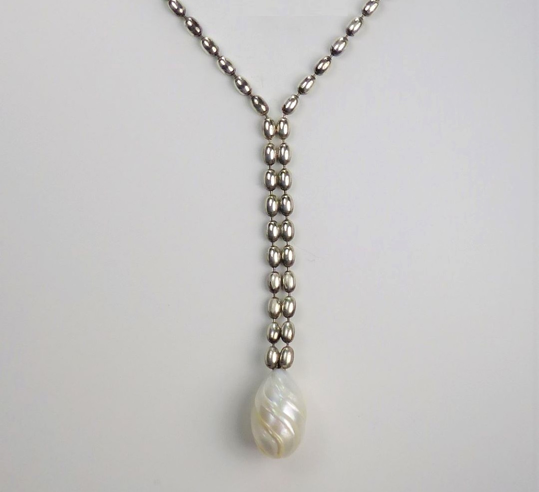 3.2mm sterling silver bead chain with a carved, half-drilled pearl