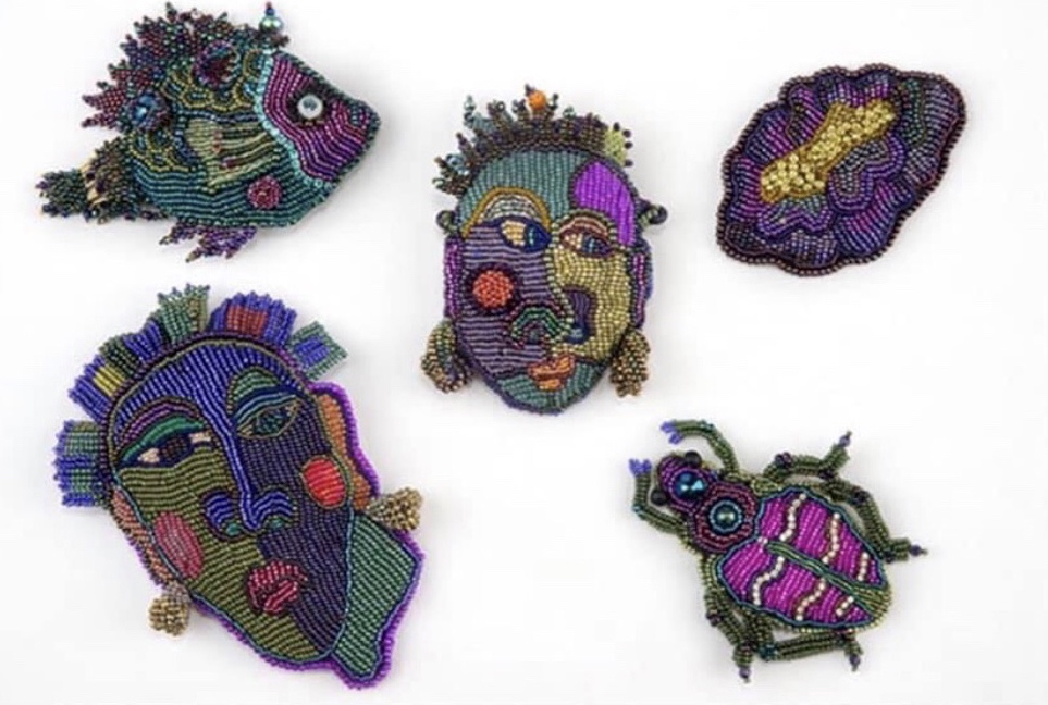 Patterned fish, colorful beetles, creative faces and more! Create your embroidered visions in Ellen Solomons' class, Bead Embroidery: Design and Paint Your Own Canvas at Bead Fest.