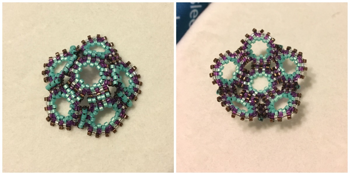 Following Judy Walker's book The Beaded Sphere, I completed half of a seed-bead dodecahedron.