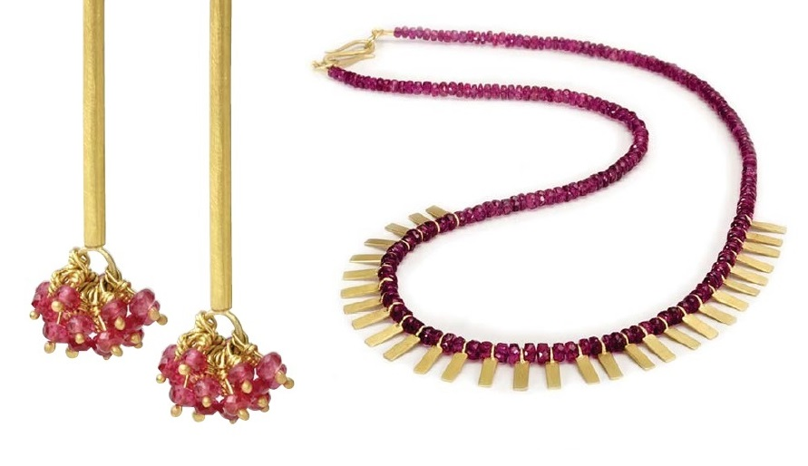 spinel earrings and necklace from Gemstones by Judith Crowe