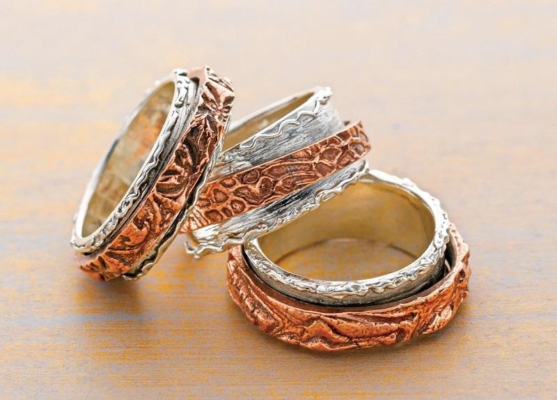 Arlene Mornick's Metal Clay Double Spinner Rings.
