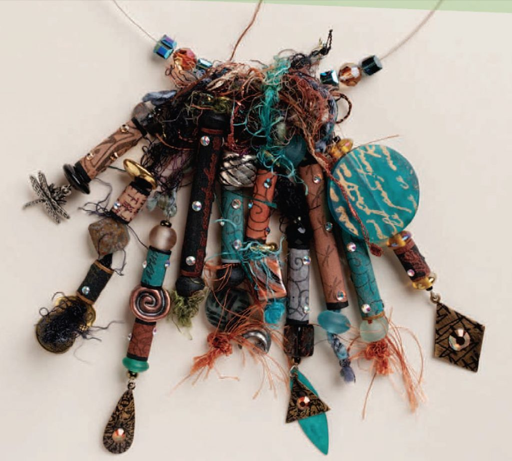 Sassy Silkies, beads and fiber, by Kristal Wick. Fabulous Fabric Beads eBook.
