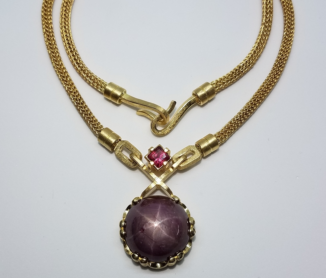 Michael David Sturlin goldsmith 18k gold star ruby and spinel necklace