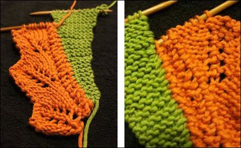 Right: Your knitting should start to look like this on the right side; left: and like this on the wrong side.