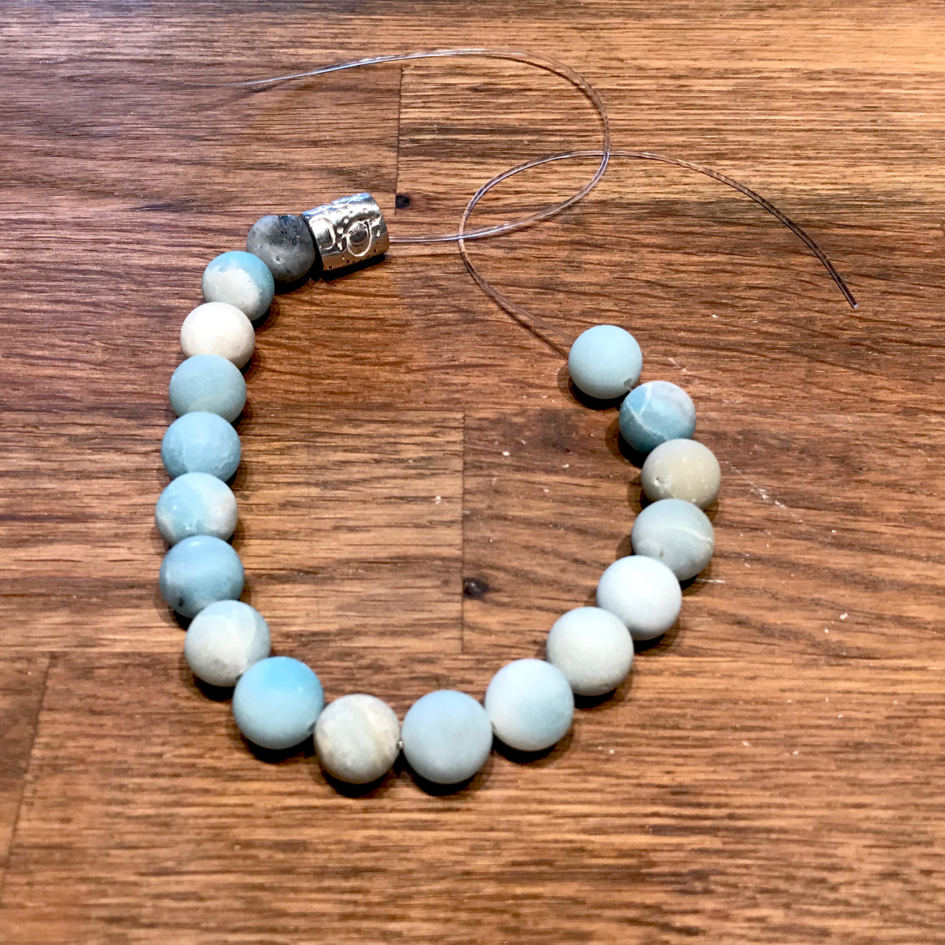 Jewelry For Men: Quick & Easy Bracelet Design You Can Make and Gift -- stretchy bracelet in process