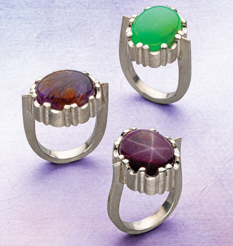 In Sawing for 3D Effects, Lapidary Journal Jewelry Artist September/October 2019, Michael David Sturlin gives instructions for building rings with settings that not only hold stones securely but add visual interest to a design; photo: Jim Lawson