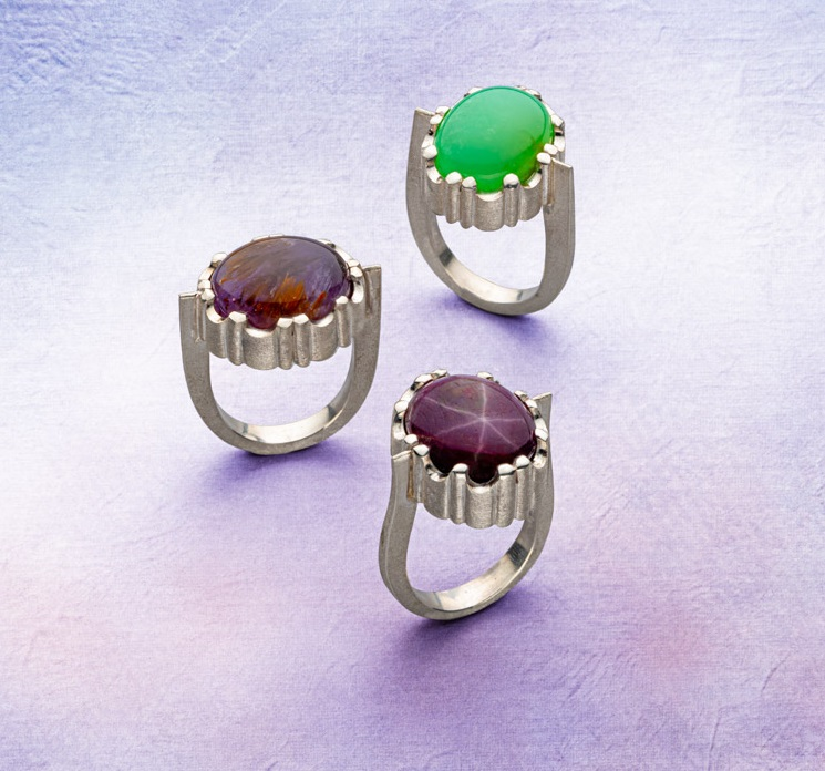 "Although you'll learn to create these dramatically set gemstone rings, what Michael David Sturlin is really teaching with this project is how to use ""Sawing for 3D Effects."" He also tries out Continuum silver, a sterling alloy that works more like gold, and gives his assessment of the metal; photo: Jim Lawson Lapidary Journal Jewelry Artist"