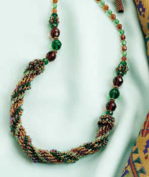 The Sumptuous Spiral is a beading necklace pattern found in our free seed bead patterns eBook.