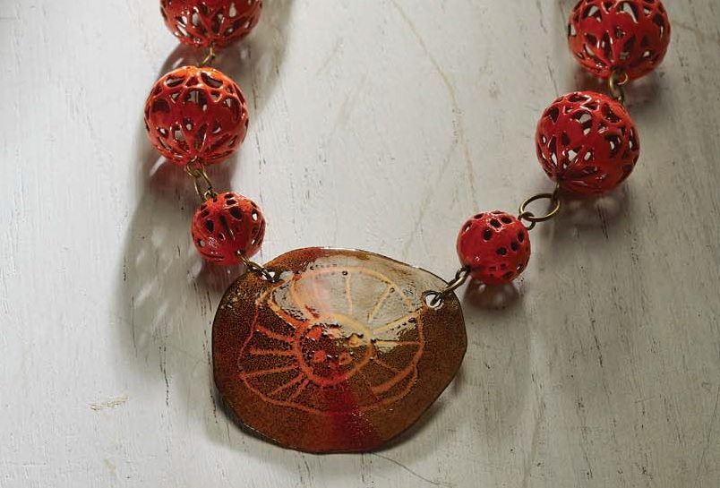 enameled filigree beads and sgraffitto pendant from Mastering Torch-Fired Enamel by Barbara Lewis