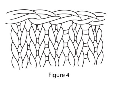 The fourth and final step in completing the suspended bind-off method in knitting.