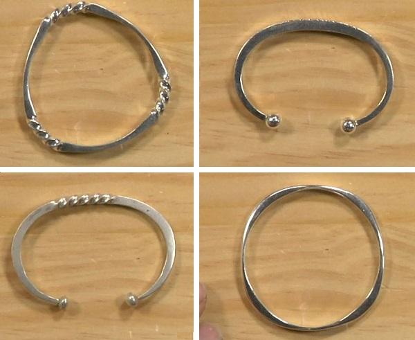 Richard Sweetman fast forged silver cuffs and bangle bracelets