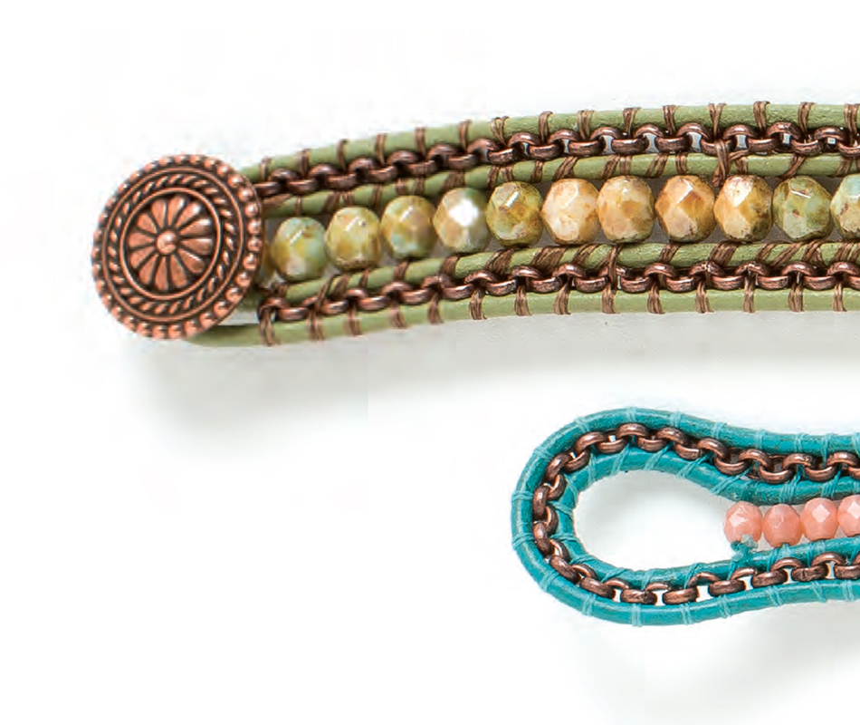 Terra Haute Wrap Bracelet, by Arlene Kauffman. Leather Jewelry Making issue. Beads and chain wrapped with beading thread to form bracelet