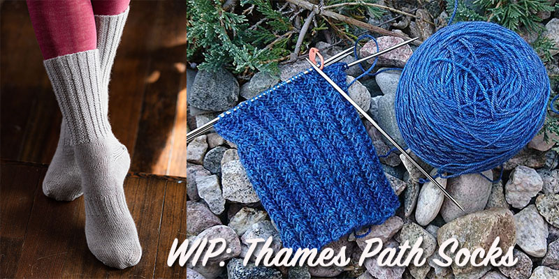 WIP: Thames Path Knitted Socks by Lisa Jacobs