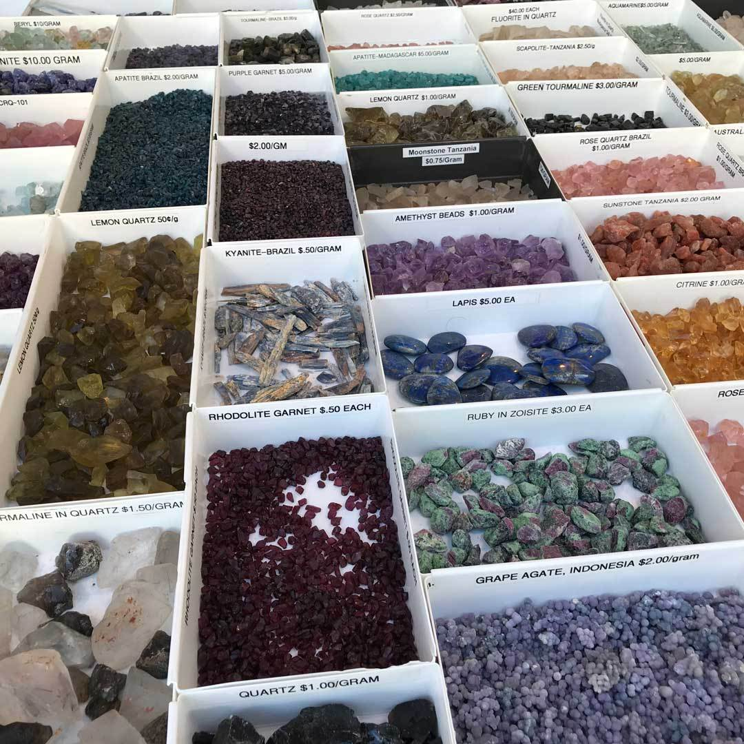 More gemstones as seen in the Thomas M Schneider booth during the Pueblo Gem & Mineral Show.