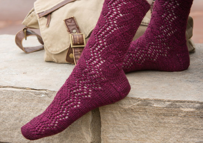 Sock knitting is timeless in the lacy Time Traveler knit socks.