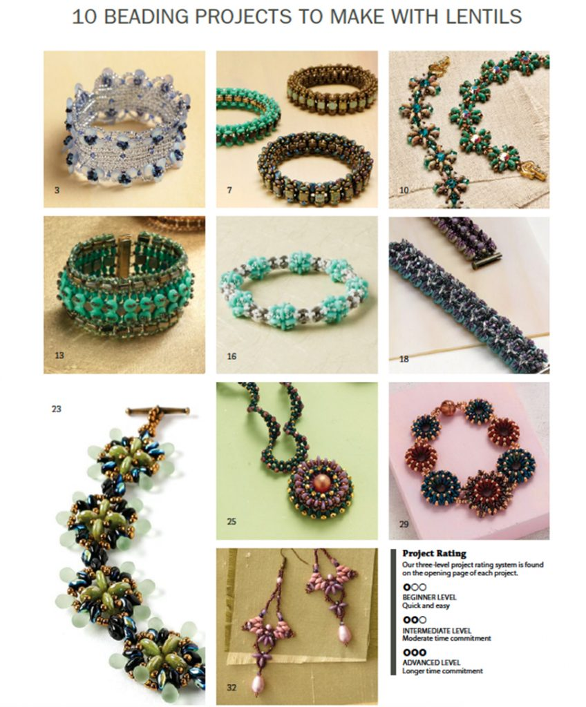 10 Beading Projects to Make with Lentils, lentil beads, 2-hole lentils, 1-hole lentils, 4-hole lentils, lentil beads, Tammy Honaman