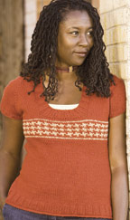 "This color knitting pattern is titled, ""tomato"". This sweater is knitted in soft cotton."