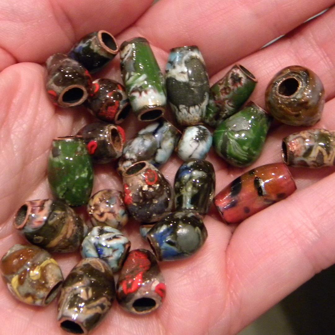 easy torch enameled copper tube beads