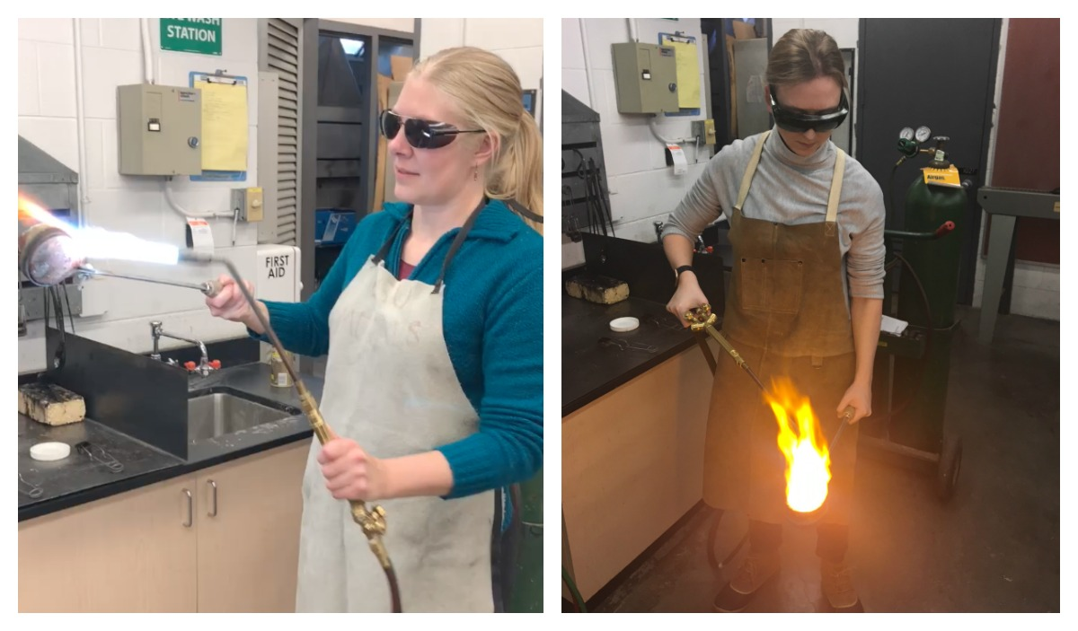 a3f8b7690def Left: I preheat the crucible before adding metal. Right: Hollie focuses the  flame