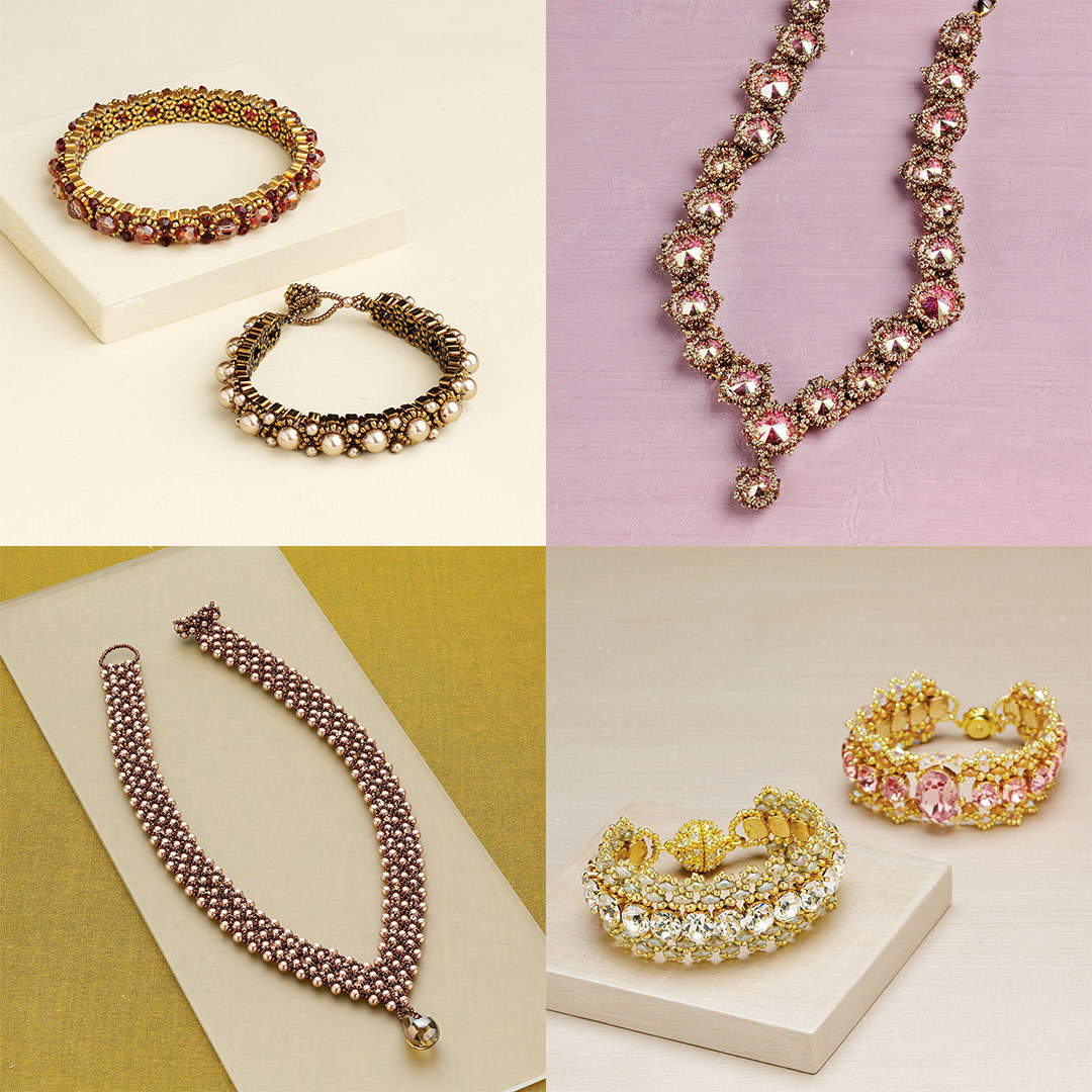 Clockwise from top-left: Elegant Choices Bracelet, Rosebud Rivolis Necklace, Empress Catherine Collar, and Ilona Bracelet.