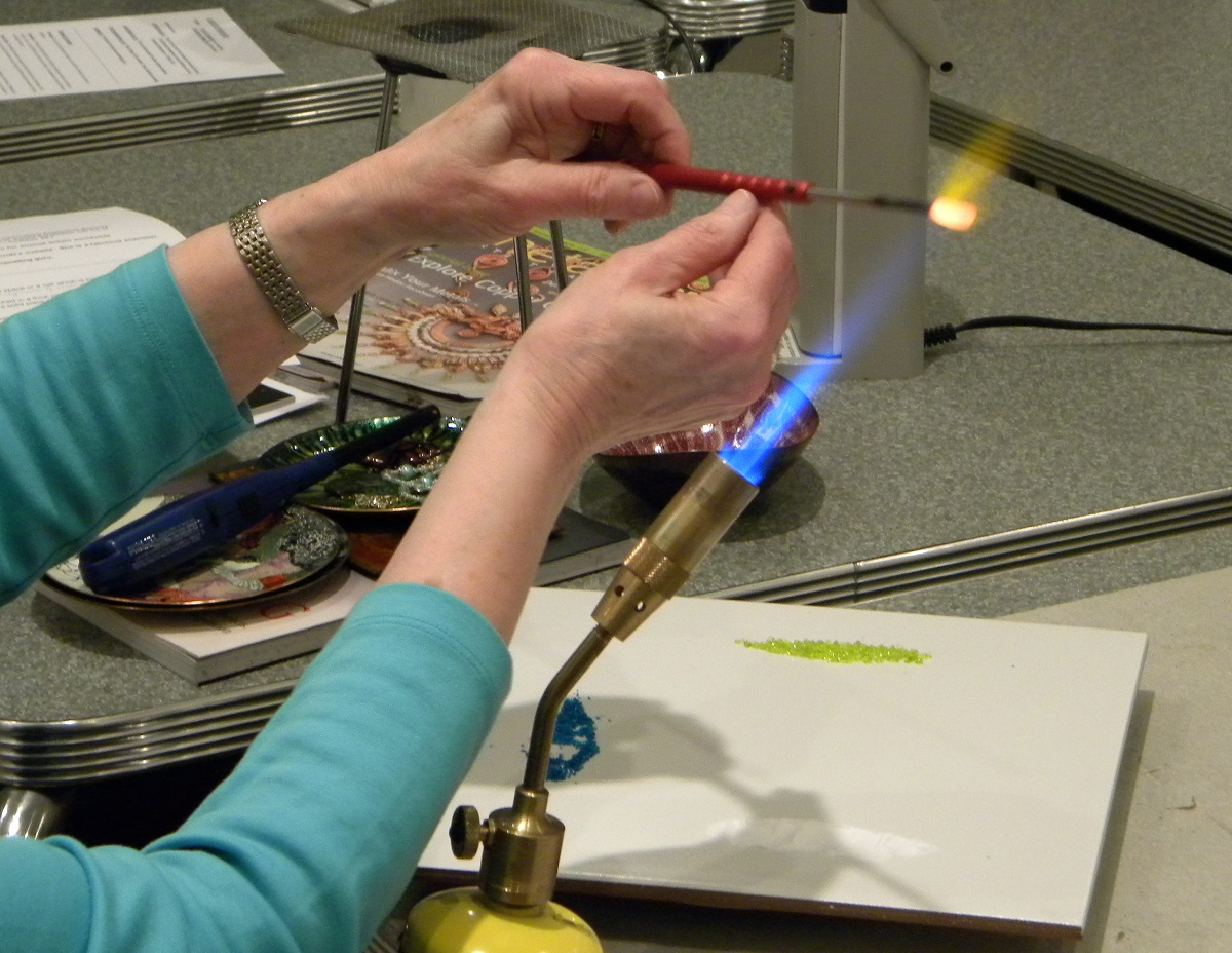 enameling copper tube beads in flame