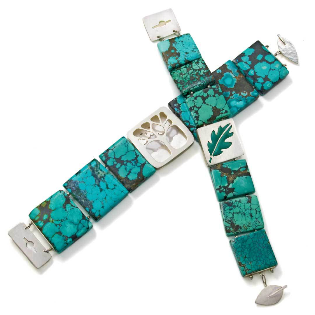 This gorgeous turquoise and silver bracelet is by Noël Yovovich.