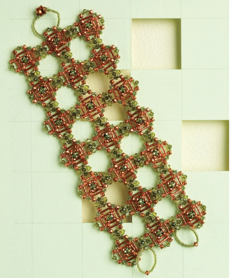 beading patterns, bugle beads, Stitching with Shaped Beads: 10 Beading Projects to Make with Bugle Beads, Tuscan Tiles,