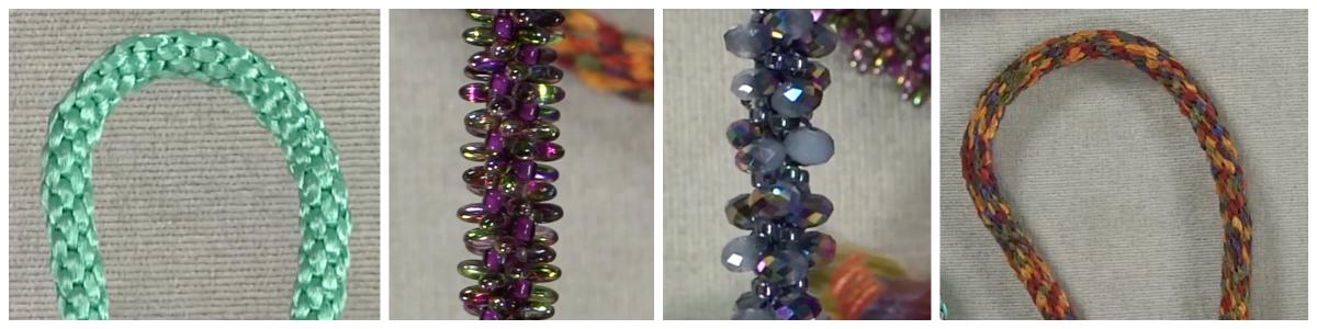 Jill Wiseman incorporates many materials into her kumihimo braids.
