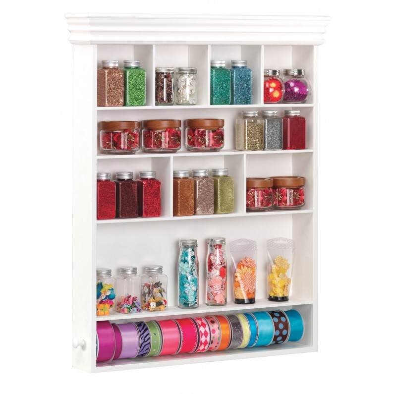 The Wall Mount Embellishment Organizer is a great option for those with limited floor space.