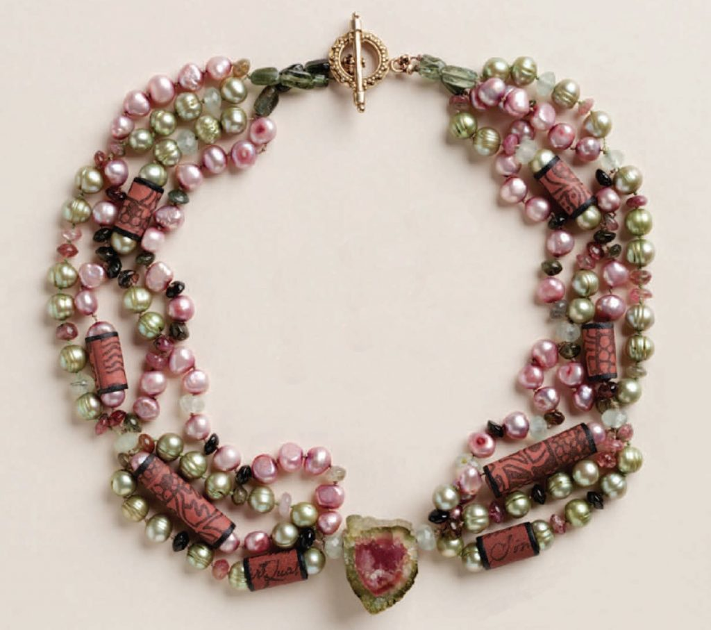 Watermelon necklace with Sassy Silkies, beads and gemstones. Sassy Silkies, beads and wire bracelet, by Kristal Wick. Fabulous Fabric Beads eBook.